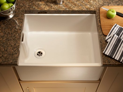 Stylish kitchen sink with built-in overflow