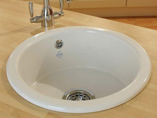Inset round kitchen sink