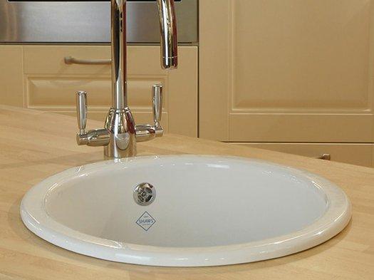 Inset round kitchen sink of 46 cm