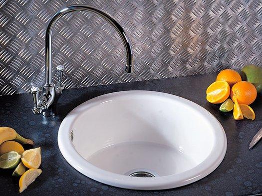 Trendy inset round kitchen sink