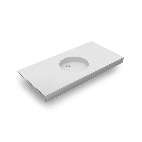 Pure White wastafeltablet 0617-01 met een ronde waskom