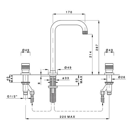 Batterie lavabo 3 trous rehaussé Khady 950.2438TC.21