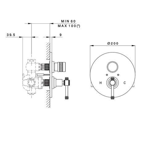 Robinet de douche thermostatique encastré Khady 950.4909.21