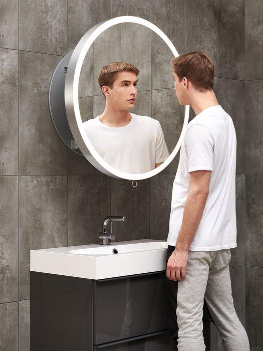 Miroir dia. 80 cm pour la salle de bains contemporaine