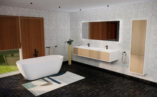 Exemple d'une salle de bains design avec modules Lounge