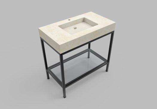 Meuble plan vasque en marbre Cube