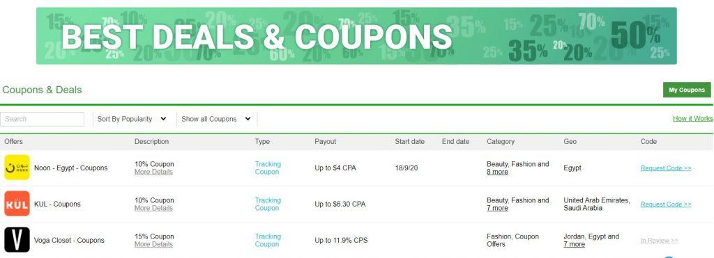 أفضل عروض عرب كليكس - صفحة أفضل الكوبونات وعروض الصفقات - أفضل برامج التسويق بالعمولة على شبكة عرب كليكس