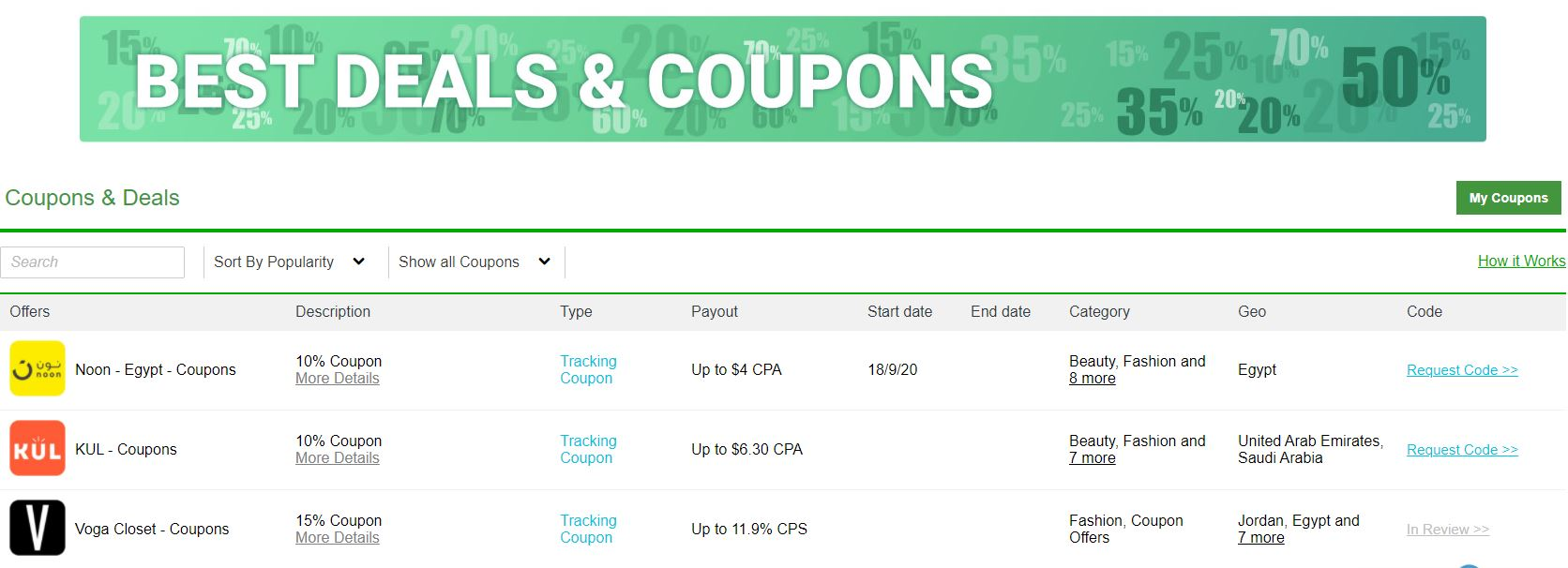 Best Coupons & Deals for Top CPA & CPS Offers & Affiliate Programs