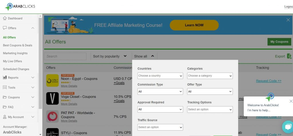 Find your ArabClicks' Tracking Links