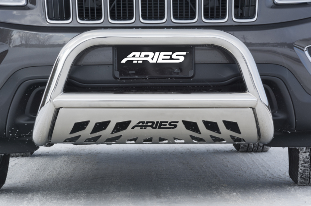 ARIES polished stainless steel bull bar on Jeep Grand Cherokee