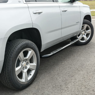 ARIES 3-inch side bars on white 2015 Chevrolet Tahoe