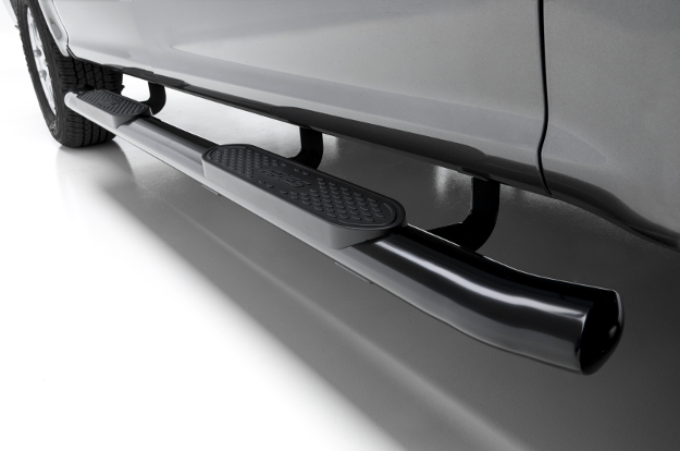 ARIES 4-inch oval black side bars on grey truck