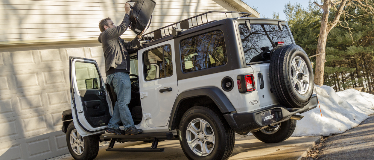 ARIES ActionTrac™ power steps offer two-step access on Jeep Wrangler JL