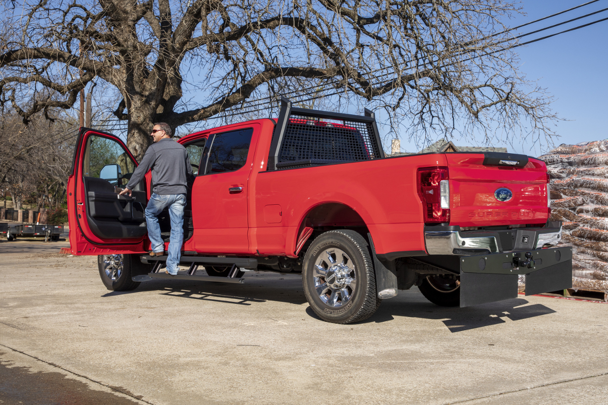 Learn About Actiontrac Powered Running Boards From Aries Ford Red F250 Super Duty With