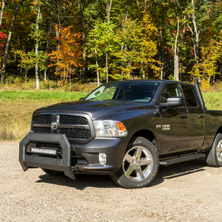 Black 2014 Ram 1500 with ARIES AdvantEDGE black bull bar with LED light bar