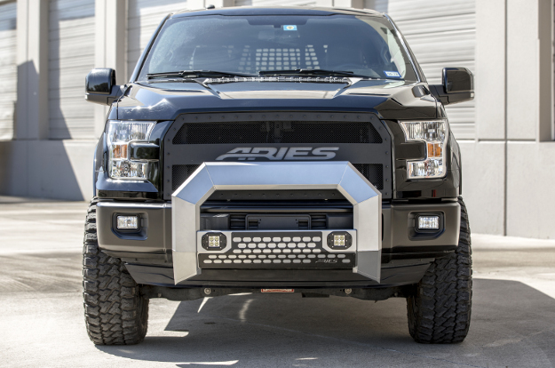 Custom 2016 black Ford F150 with ARIES AdvantEDGE™ chrome bull bar with LED lights