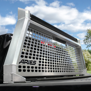 ARIES AdvantEDGE chrome headache rack on black truck