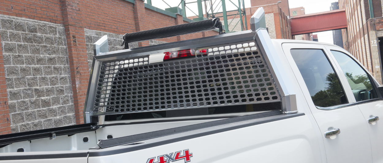ARIES AdvantEDGE™ headache rack on white Chevrolet Silverado 1500
