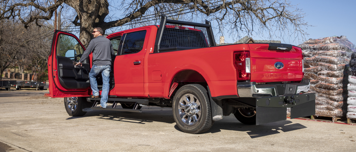 Red 2017 Ford F250 Super Duty with ARIES AdvantEDGE™ truck headache rack