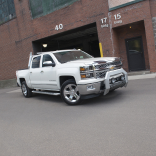 2015 Chevrolet Silverado 1500 with ARIES AdvantEDGE chrome side bars and accessories