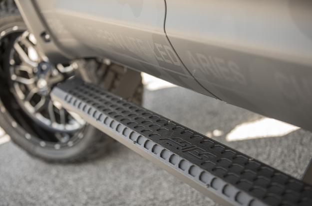 ARIES AdvantEDGE™ black truck steps on custom 2017 Toyota Tundra