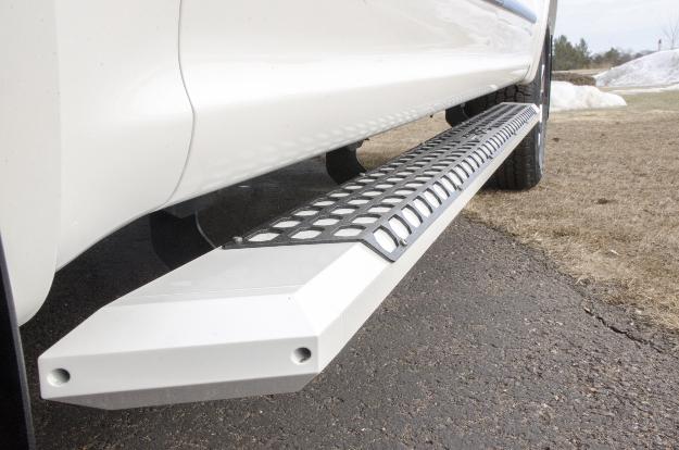 ARIES AdvantEDGE™ chrome running boards on white truck