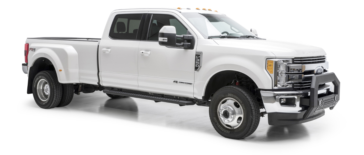 White 2017 Ford F350 Super Duty with ARIES AdvantEDGE™ running boards