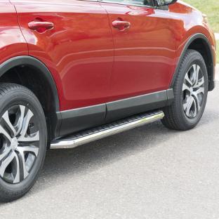 ARIES AeroTread SUV running boards on red 2016 Toyota Rav4