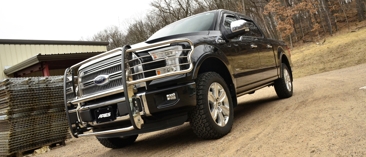 Black Ford F150 with ARIES stainless steel grille guard