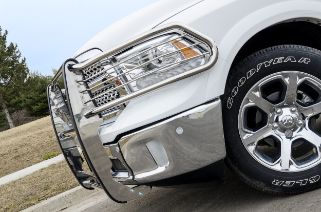 ARIES grille guard on white 2015 Ram 1500