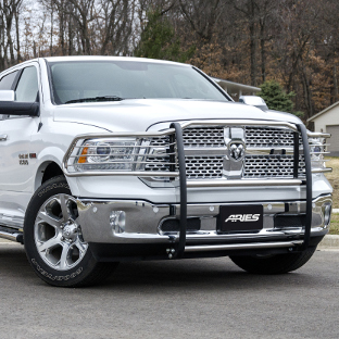 White 2015 Ram 1500 with ARIES grille guard