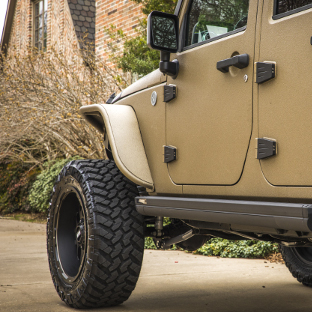 ARIES Jeep fender flares on tan 2017 Jeep Wrangler JK Unlimited