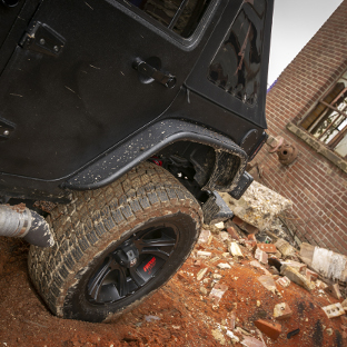 ARIES Jeep rear fender flares on black Jeep Wrangler JK - mud