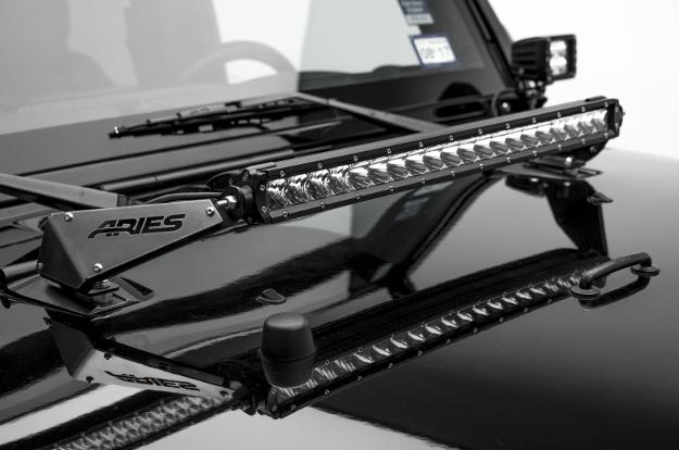 ARIES Jeep Wrangler hood LED light bar brackets