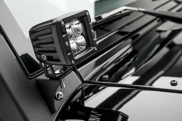 ARIES Jeep Wrangler windshield hinge LED light bracket