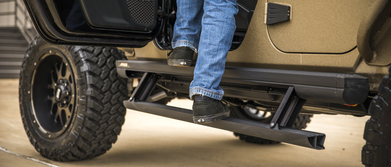 ARIES Jeep Wrangler side steps - ActionTrac™ powered running boards on JK Unlimited
