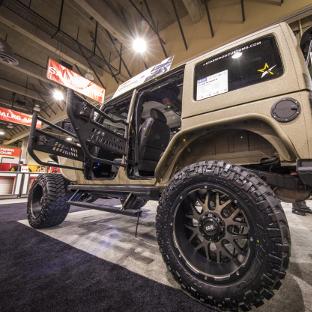Custom desert Jeep Wrangler JK Unlimited with ARIES Jeep doors