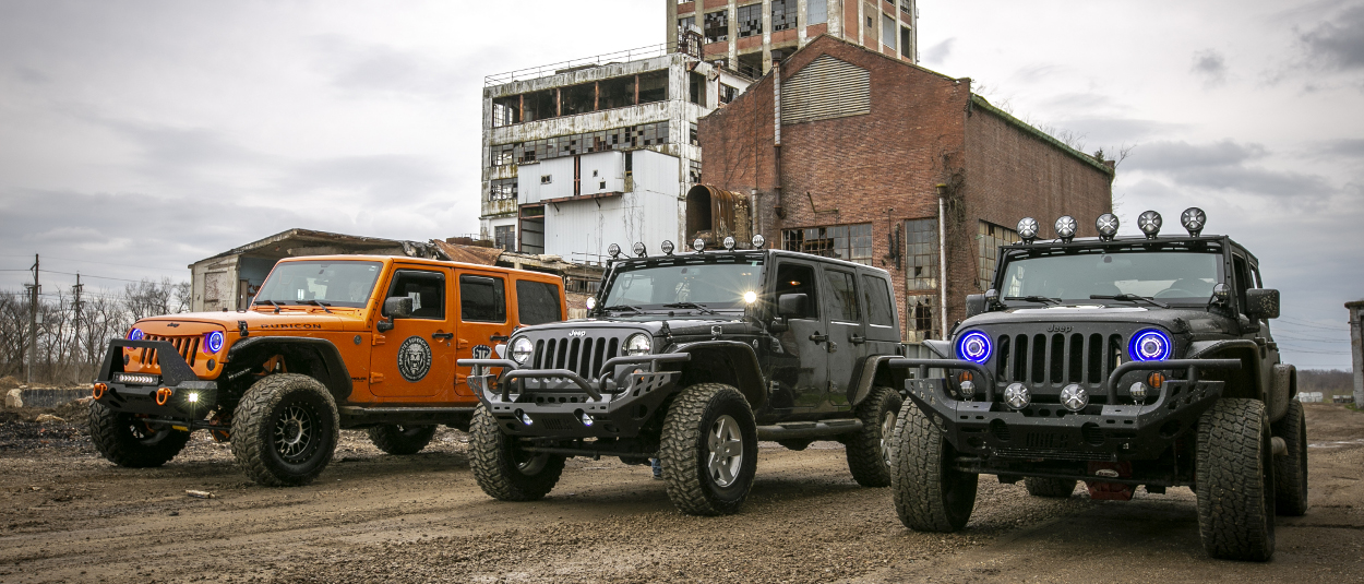 ARIES Jeep Wrangler accessories on 2008, 2013 and 2014 Jeep JK Unlimited - industrial park