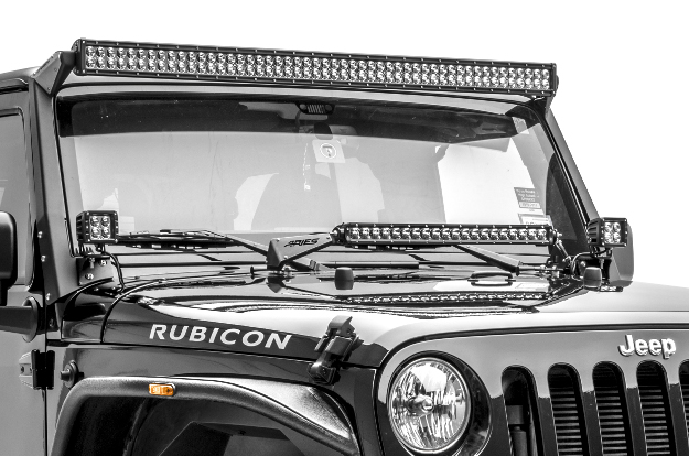 ARIES Jeep Wrangler LED lights and mounts on Rubicon