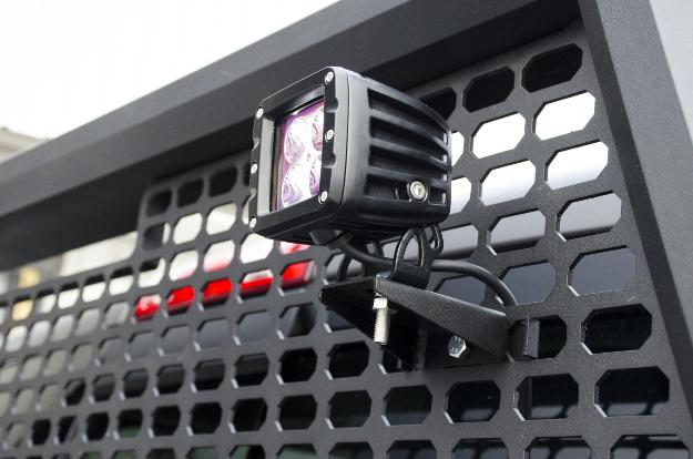 ARIES square LED light on truck headache rack