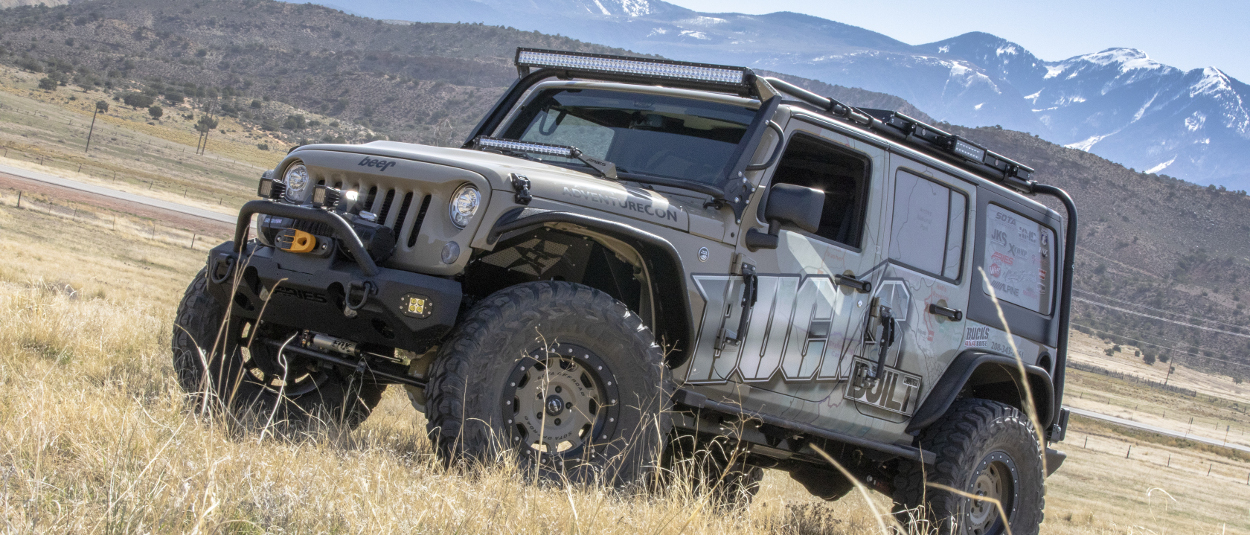 Offroad Jeep Wrangler JK Unlimited with ARIES LED lights