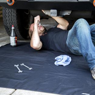 ARIES Seat Defender cargo area blanket - under vehicle work