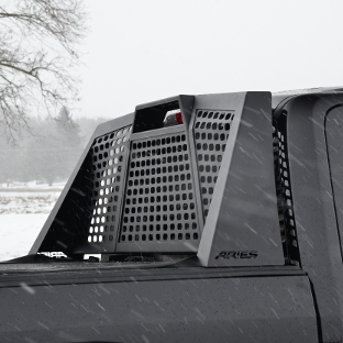 ARIES Switchback black headache rack on black truck