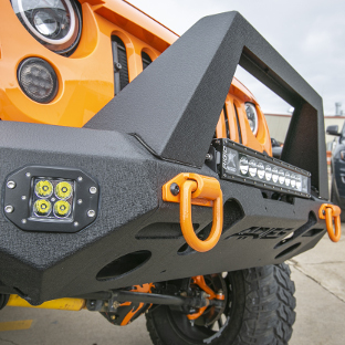 ARIES TrailChaser® bumper on orange 2013 Jeep Wrangler JK Unlimited