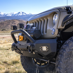ARIES TrailChaser® Jeep bumper on Wrangler JK Unlimited - mountains