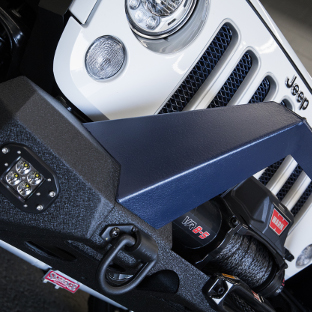 ARIES TrailChaser® Jeep Wrangler bumper with LED lights on Jeep JK