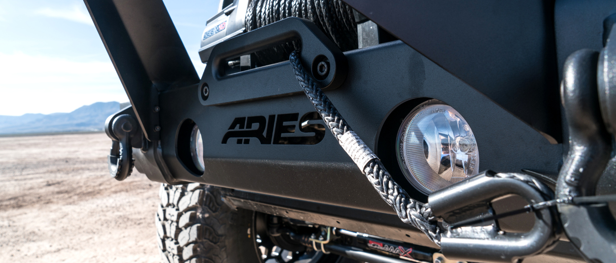 ARIES TrailCrusher® Jeep Wrangler bumper with winch hawse fairlead and shackles
