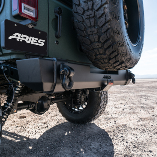 ARIES TrailCrusher® rear Jeep bumper on Jeep Wrangler JK Unlimited - desert