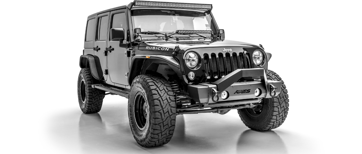 Black custom 2015 Jeep Wrangler JK Unlimited with ARIES TrailCrusher® bumper