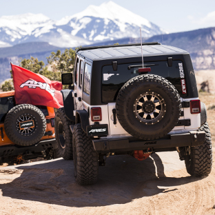Offroad 2018 Jeep Wrangler JK Unlimited with ARIES TrailCrusher® rear Jeep bumper - trail ride